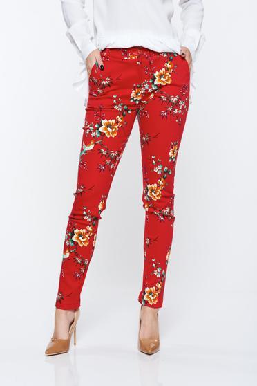 Pantaloni PrettyGirl rosii cu talie medie din bumbac elastic cu buzunare