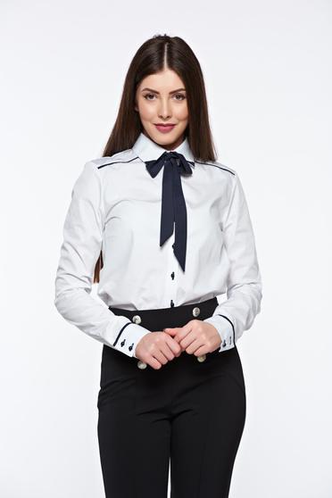 Camasa dama PrettyGirl alba office cu croi larg din bumbac neelastic