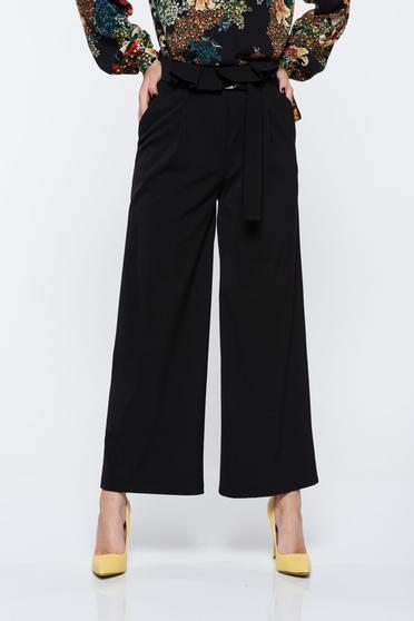 Pantaloni PrettyGirl negri eleganti cu talie inalta cu un croi evazat