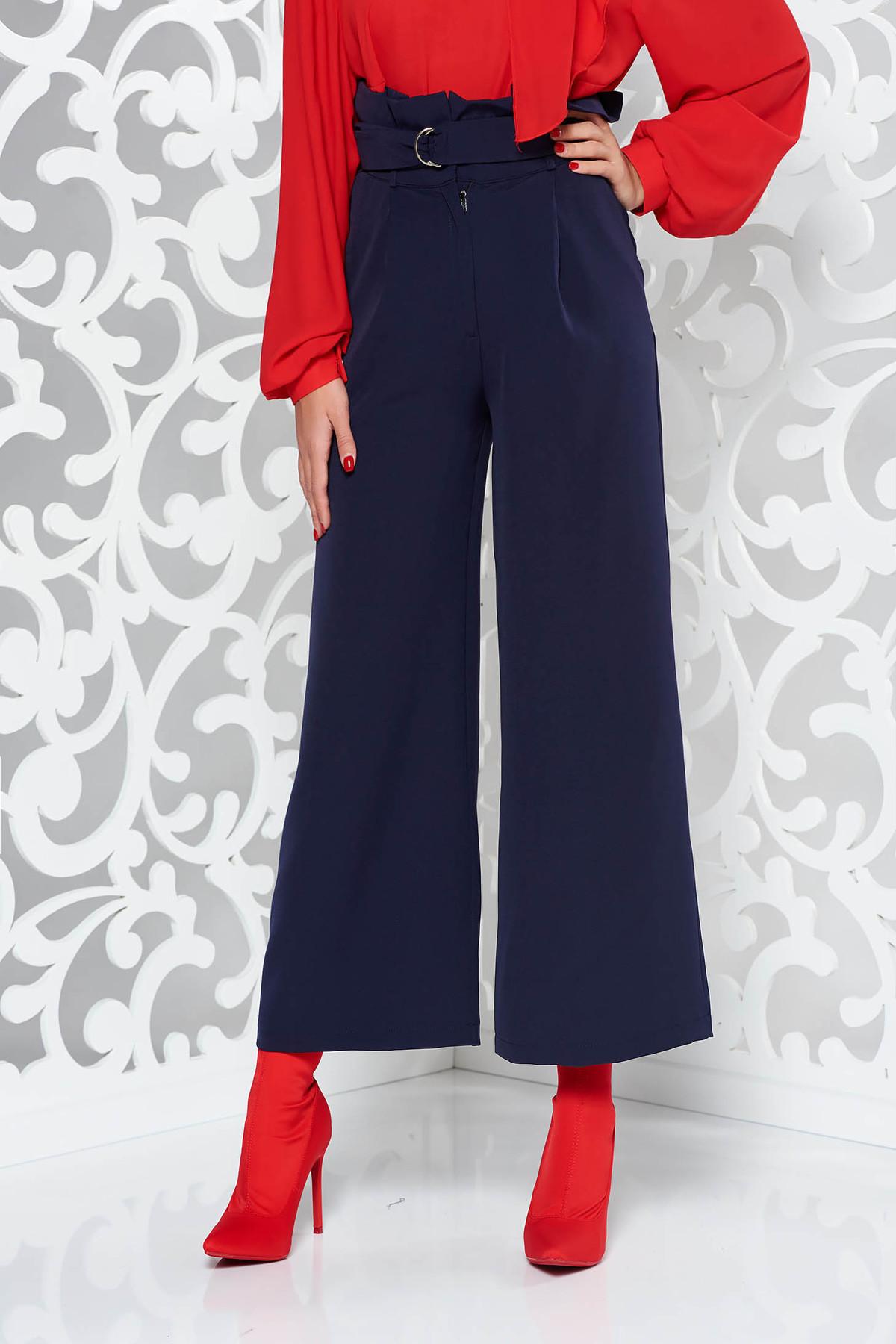 Pantaloni PrettyGirl albastri-inchis eleganti cu talie inalta cu un croi evazat
