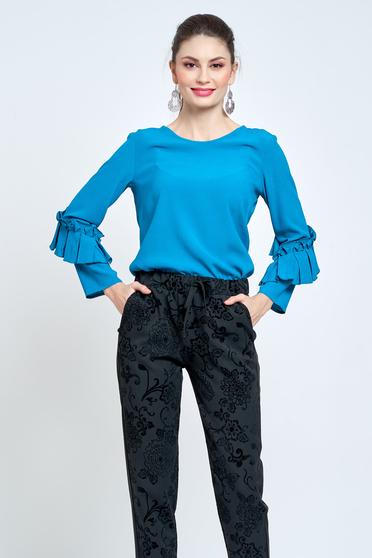 Bluza dama PrettyGirl turcoaz eleganta cu croi larg din material vaporos