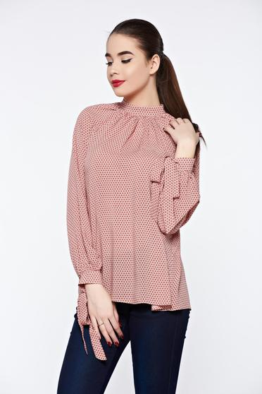 Bluza dama PrettyGirl piersica office eleganta din material vaporos