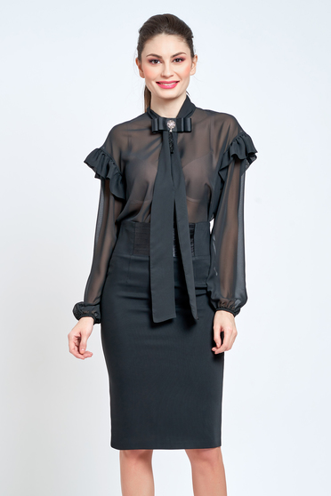 Camasa dama PrettyGirl neagra eleganta cu croi larg din material vaporos si transparent