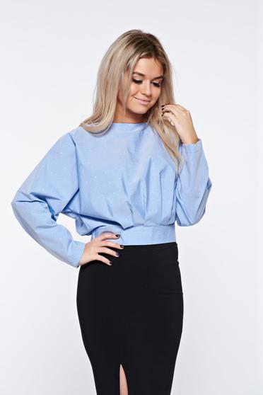 Bluza dama PrettyGirl albastra-deschis scurta cu croi larg din bumbac neelastic