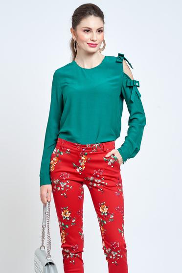 Bluza dama PrettyGirl verde eleganta cu croi larg din material vaporos