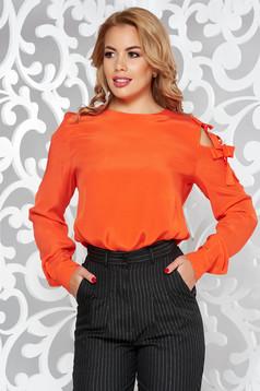Bluza dama PrettyGirl portocalie eleganta cu croi larg din material vaporos