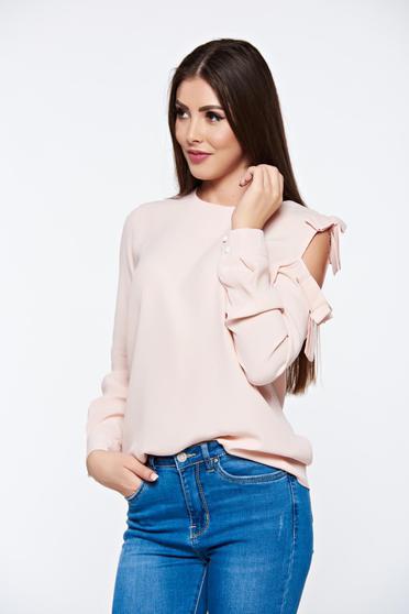 Bluza dama PrettyGirl rosa eleganta cu croi larg din material vaporos