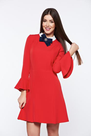 Rochie PrettyGirl rosie eleganta din stofa usor elastica captusita pe interior