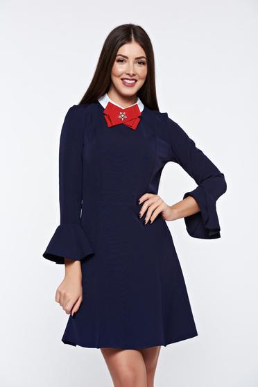 Rochie PrettyGirl albastra-inchis eleganta din stofa usor elastica captusita pe interior