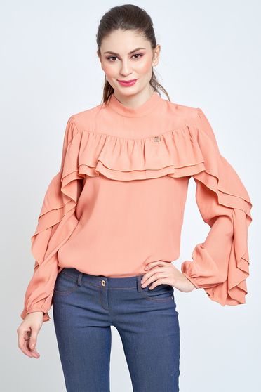 Bluza dama PrettyGirl piersica eleganta cu croi larg din material vaporos cu volanase