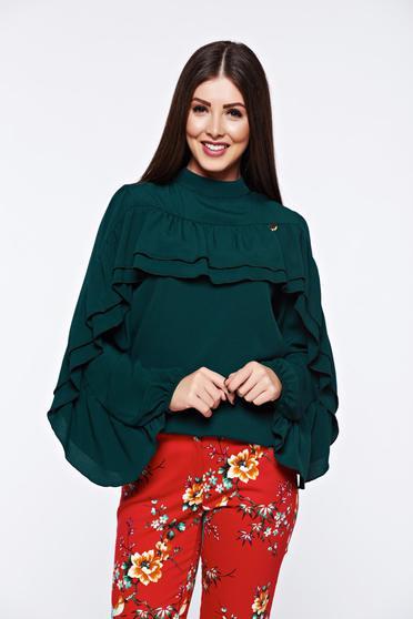 Bluza dama PrettyGirl verde eleganta cu croi larg din material vaporos cu volanase