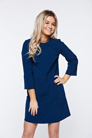 Rochie PrettyGirl albastra-inchis eleganta cu croi larg accesorizata cu o fundita
