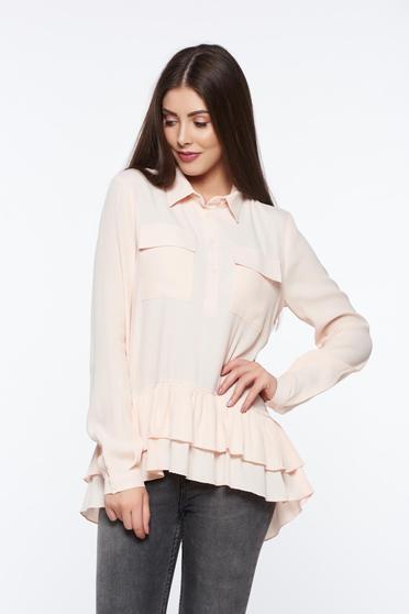 Bluza dama PrettyGirl rosa casual cu croi larg din material vaporos cu volanase
