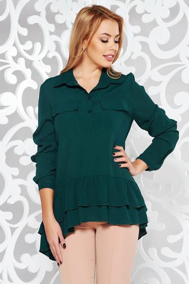 Bluza dama PrettyGirl verde casual cu croi larg din material vaporos cu volanase