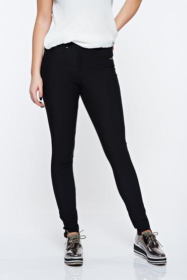 Pantaloni PrettyGirl negri casual din bumbac elastic cu buzunare