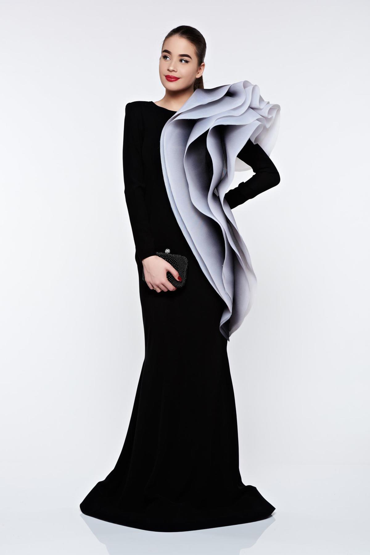 Rochie Ana Radu neagra de lux tip sirena din material usor elastic cu volane thumbnail