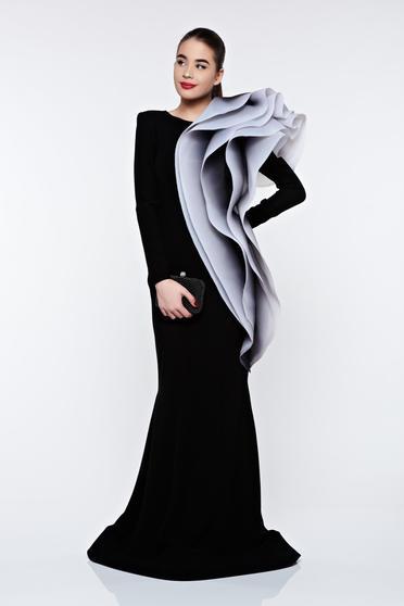 Rochie Ana Radu neagra de lux tip sirena din material usor elastic cu volane
