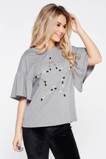 Tricou gri casual din bumbac elastic cu croi larg cu aplicatii cu perle