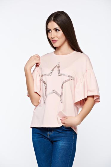Tricou rosa casual din bumbac elastic cu croi larg cu aplicatii cu perle