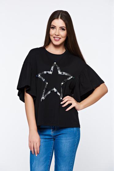 Tricou negru casual din bumbac elastic cu croi larg cu aplicatii cu perle
