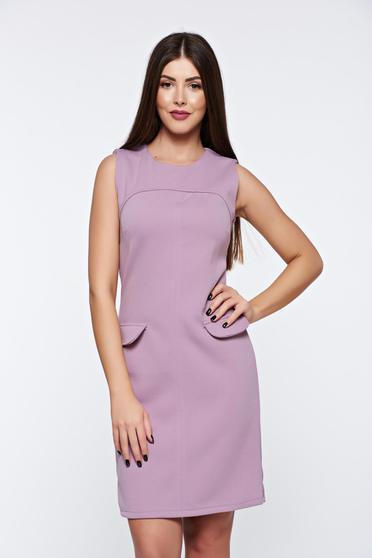 Rochie rosa de zi din material gros usor elastic fara maneci