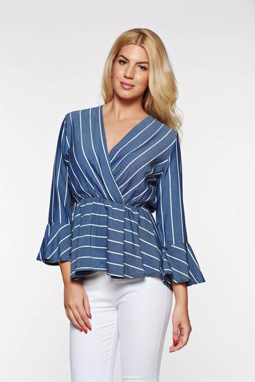 Camasa dama albastra casual din material subtire cu elastic in talie