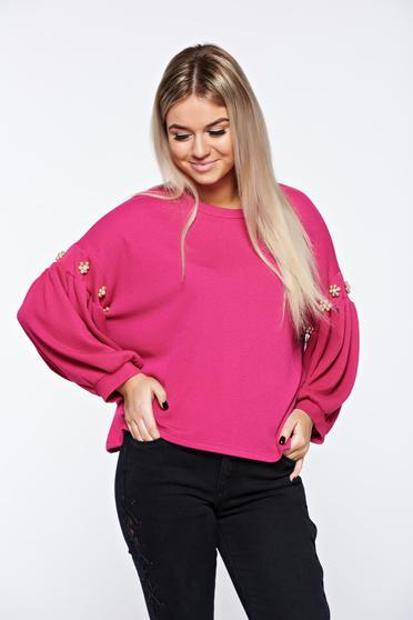 Bluza dama roz casual cu croi larg cu maneci clopot cu aplicatii cu perle