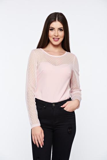 Body rosa elegant din material elastic cu maneci din dantela