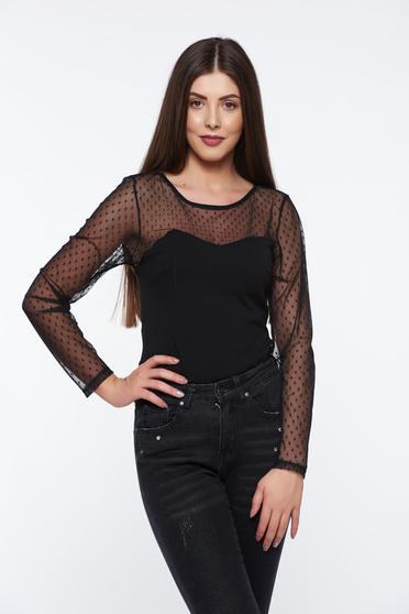 Body negru elegant din material elastic cu maneci din dantela