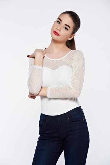 Body alb elegant din material elastic cu maneci din dantela