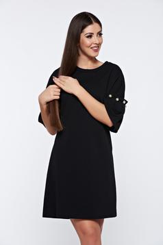 Rochie neagra eleganta cu croi larg cu aplicatii cu perle
