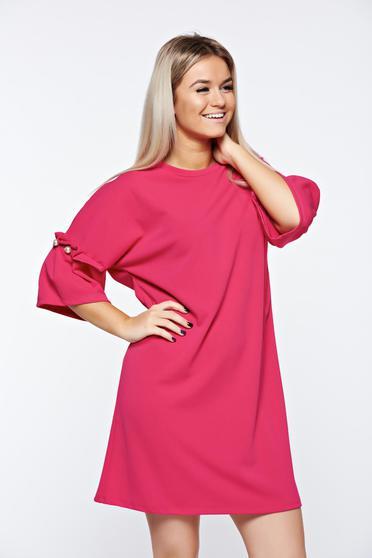 Rochie roz eleganta cu croi larg cu aplicatii cu perle