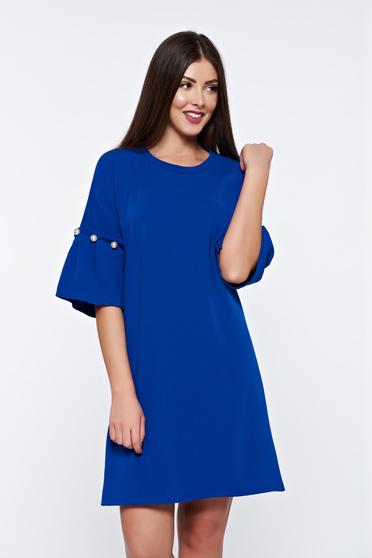 Rochie albastra eleganta cu croi larg cu aplicatii cu perle