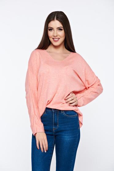 Bluza dama portocalie cu croi larg din material moale tricotat