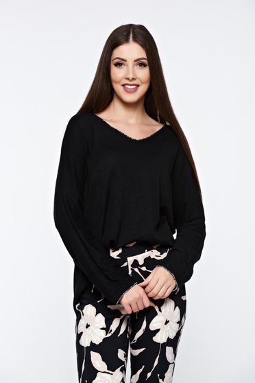 Bluza dama neagra cu croi larg din material moale tricotat