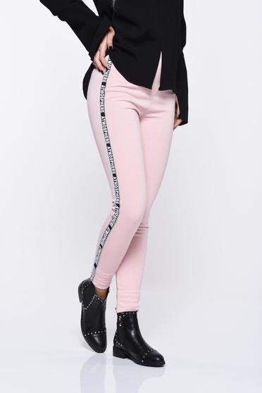 Colanti rosa casual cu talie medie din material moale cu elastic in talie