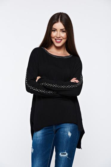 Bluza dama neagra casual din bumbac elastic cu tinte metalice