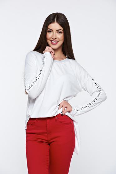 Bluza dama alba casual din bumbac elastic cu tinte metalice