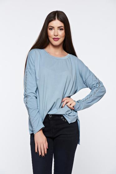Bluza dama gri casual din bumbac elastic cu tinte metalice
