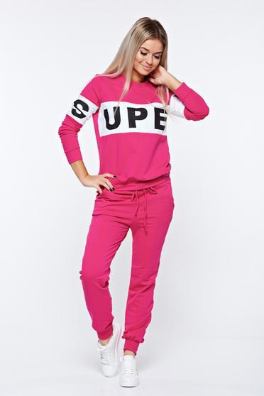 Set roz sport din bumbac cu elastic in talie cu buzunare
