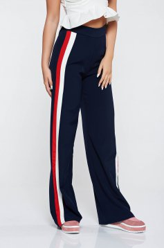 Pantaloni albastri-inchis casual evazati cu talie inalta din material usor elastic
