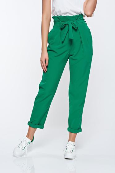 Pantaloni verzi casual din material usor elastic cu talie inalta cu buzunare