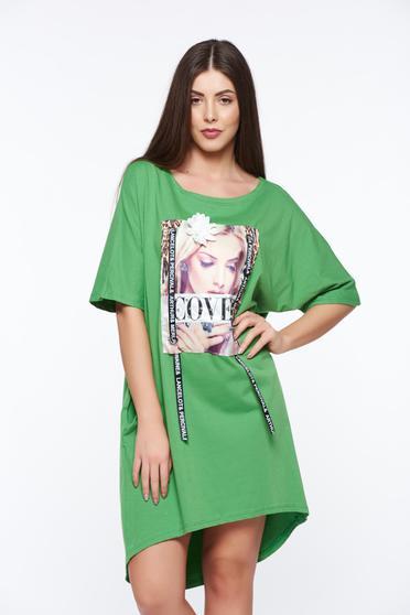 Tricou verde casual cu croi larg din bumbac elastic