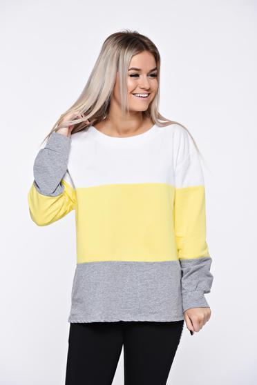 Bluza dama galbena casual cu croi larg din material moale si elastic