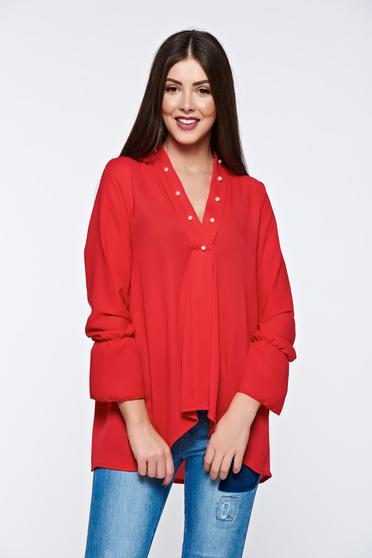 Bluza dama rosie asimetrica cu croi larg cu decolteu in v cu aplicatii cu margele