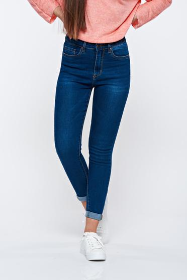 Blugi albastri-inchis casual skinny din bumbac cu talie inalta