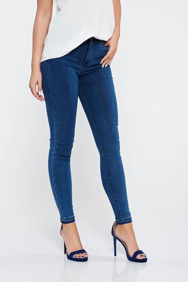 Blugi albastri-inchis casual skinny din bumbac cu buzunare in fata si in spate