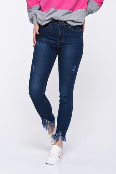 Blugi albastri-inchis skinny cu talie medie din bumbac elastic cu rupturi