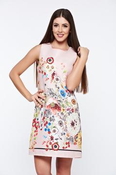 Rochie rosie casual din jaquard cu croi larg cu print