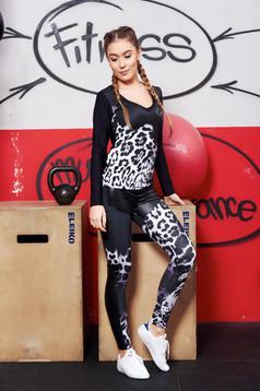 Set MissQ negru sport cu un croi mulat din material elastic